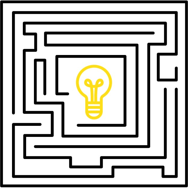 Graphic of light bulb inside a maze to represent The Challenge